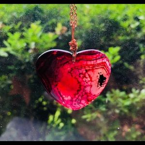 Red Dragon Vein Agate Rose Gold Necklace N…